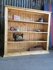 Solid 5ft Rustic Pine Handmade Large Bookcase Shelving Unit