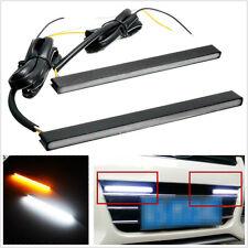 2 X Waterproof Ultra Slim Switchback 30-LED Car Amber&White DRL Fog Lights Strip