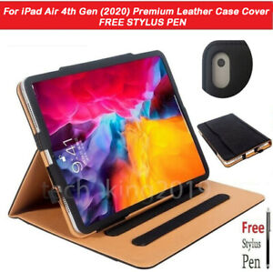 """For iPad Air 4th Gen 10.9""""  (2020) Premium Leather Tablet Folio Case Stand Cover"""