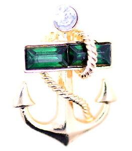 Gold und grüne Anker Brosche / Pin