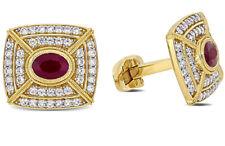 2.40ct Natural Round Diamond Ruby 14K Yellow Gold Wedding Cufflinks