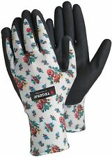 TEGERA Ladies Gardening Work Gloves Nitrile Grip Water Repellent Palm