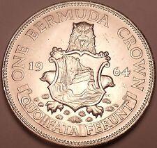 Gem Unc Silver Bermuda 1964 Crown~Lion Holding Shield~Free Shipping