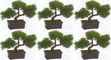 "6 ARTIFICIAL 9"" CEDAR BONSAI TREE TOPIARY IN OUTDOOR PLANT POOL PATIO HOME DECOR"
