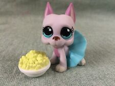 Littlest Pet Shop PINK GREAT DANE DOG #1022 BLUE DOT EYES Accessories LPS Auth