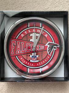 Atlanta Falcons NFL New Chrome Round Wall Clock 12 Inches Diameter BRAND NEW