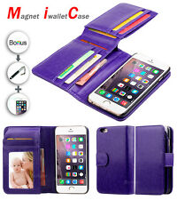 PURPLE Magnet IWALLETCASE Wallet Leather Case Cover For Apple iPhone 6 Plus