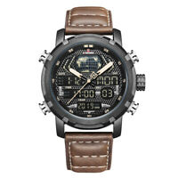 Naviforce 9160 Luxury Day Date Year Leather Men Military Digital Quartz Watch