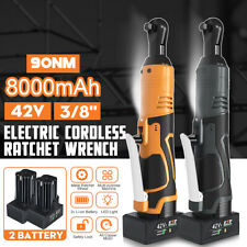 42V 3/8'' 90Nm Electric Cordless Ratchet Wrench Angle Tool With 2Pcs Battery ✔☆