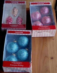 Country Living Home Spun Holiday Glass Ornaments - Variety To Choose - BRAND NEW