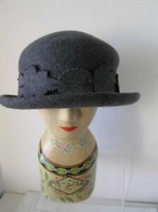 Women's Liz Claiborne Grey Felt 100% Wool Boho Style Cloche Hat