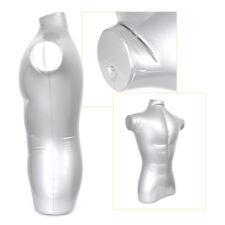 1Pc Silver Pvc Plastic Male Inflatable Half Body Torso Form Mannequin Model