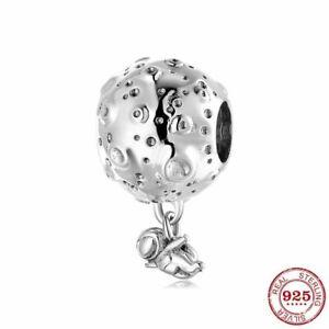 Charms Anhänger Echt Silber 925 Mond Astronaut für Armbänder Damen Geschenk Neu.