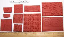 10 Deep Etched UM Rubber Stamp Grab Bag 4 Stamping Paper, Fabric, Art Clay, PMC