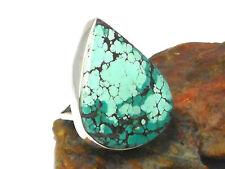 Tibetan TURQUOISE   Sterling  Silver  925  Gemstone  RING  -  Size: P