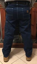 NEW Carhartt Carpenter Dungaree Fit Work Pants 100% Cotton Denim Men Size 36/34