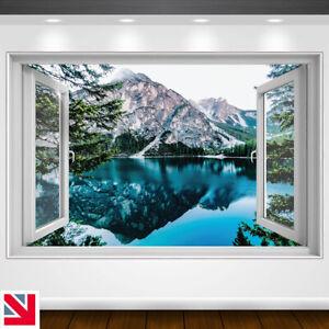 MOUNTAIN REFLECTION LAKE SNOW ICE Wall Decal Sticker Vinyl Window View