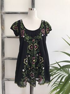 Antik Batik Black Cap-Sleeve Embroidered Babydoll Top - Size 40 M (Fit Size 12)