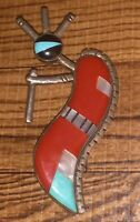 Hopi Sterling Silver Inlay Kokopelli Pendant Signed
