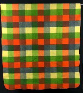 Vintage Camp Blanket Fleece Checkered Orange Green Yellow Blue Picnic Farmhouse