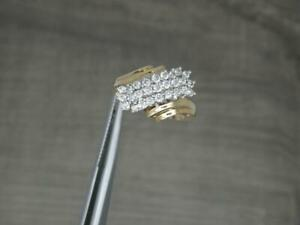 Beautiful 9ct Yellow Gold 0.50ct Crossover Diamond Cluster Ring UK size K 1/2