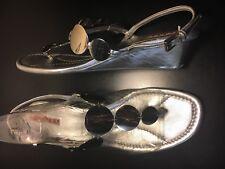 Prada Silver Metallic Wedge Heel Toe Post Sandal Shoes Fit AU 9 9.5 EU 40 40.5