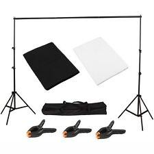 Photography Studio Black/White Backdrop Background Photo Stand Muslin Kit Set My