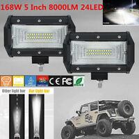 2PCS 5inch 168W Flood LED Work Light Bar Off Road Boat Fog Driving 12V 24V
