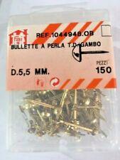 150 Bullette a perla D.5,5 mm Ottonate tappezziere puntine tappezzeria bulletta