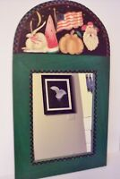 Unique Primitive Handcarved Wood Mirror Beautiful RARE signed by artist