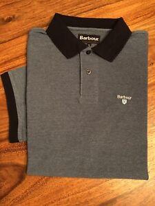 Barbour Short Sleeved Piqué Polo Shirt, Grey/Black Collar Size XL Good Condition