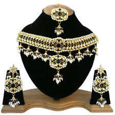 Meena Kundan Beautiful Pearls & Stone Look GoldPlated Party Jewelry Necklace Set