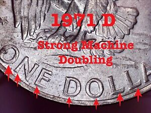 1971 D Eisenhower Ike Dollar  - Error Coin - Strong Machine Doubling & Rim Error