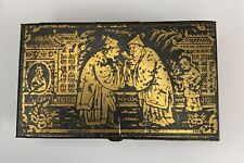 Antique Bryant & May Tin Vesta Case Chinoiserie Scene Gold Black Stamped 1870