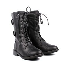 7 Color Womens Combat Military Boots Faux Leather Womens Mid-Calf Boots Shoes