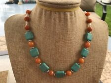 HDMD by Cyndi Necklace of Turquoise Magnesite Squares and Orange Quartz Rounds