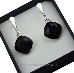 925 SILVER EARRINGS MADE WITH SWAROVSKI CRYSTALS FANCY STONE - JET