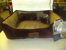 "NWT AKC Rectangular Pet Dog Cat Bed Red w/ blanket and pillow 22"" x 18"""