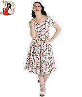 HELL BUNNY YVETTE 50s DRESS cherry WHITE rockabilly XS-4XL