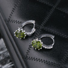Pendientes Colgantes Plateado circonita redonda Verde Oliva Clase Matrimonio