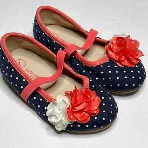 Oshkosh Polka Dot Flower Ballet Flat Slip On Toddler Size 7 Blue Coral