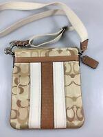 Coach Tan Signature Fabric Leather Crossbody Shoulder Bag Handbag Canvas Strap