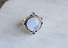 STERLING SILVER RAINBOW MOONSTONE SOLID SILVER RING SIZE 5 6 7 8 9