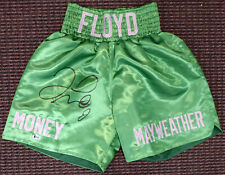 FLOYD MAYWEATHER JR. AUTOGRAPHED SIGNED GREEN BOXING TRUNKS BECKETT BAS 159665