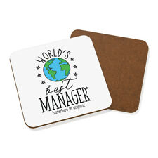 World's Best Manager Coaster Drinks Mat - Funny Gift Present