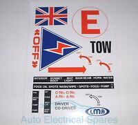 CLASSIC CAR FIA RACE RALLY interior dash & exterior decal sticker set cut to fit