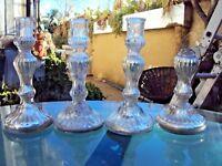 quatre petits bougeoirs en verre soufflé églomisé  mercurisé 19 ème