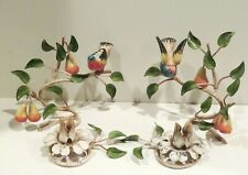 ITALIAN HAND PAINTED TOLE FOLK PAIR METAL BIRD CANDLE HOLDERS VINTAGE CHIPPY