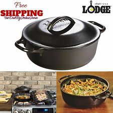 2 Qt Cast Iron Dutch Oven Pre-Seasoned Cookware Kitchen Pot Lid Home Camping New