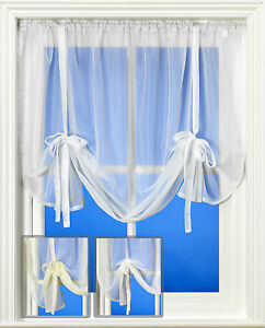 Plain Voile Curtain Tie Blind Up in White, Cream or Ivory